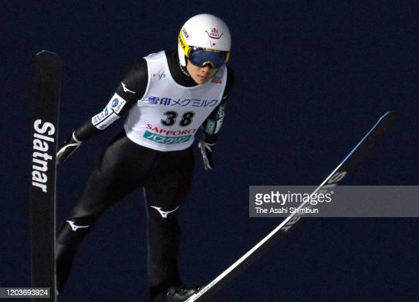 Yukiya Sato of Japan competes on day one of the FIS Ski Jumping World Cup Sapporo at Okurayama Jump Stadium on February 1 2020 in Sapporo Hokkaido...