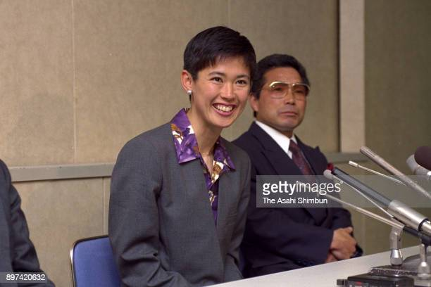 Yuko Arimori attends a press conference after the JAAF announced the members of marathon team for Barcelona Olympics on March 28 1992 in Tokyo Japan