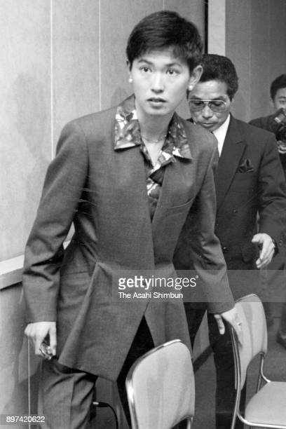 Yuko Arimori leaves after a press conference after the JAAF announced the members of marathon team for Barcelona Olympics on March 28 1992 in Tokyo...