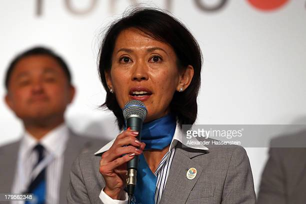 Yuko Arimori talks to the media during a Tokyo 2020 Bid Committee press conference ahead of the 125th IOC Session at Sheraton Buenos Aires Hotel and...