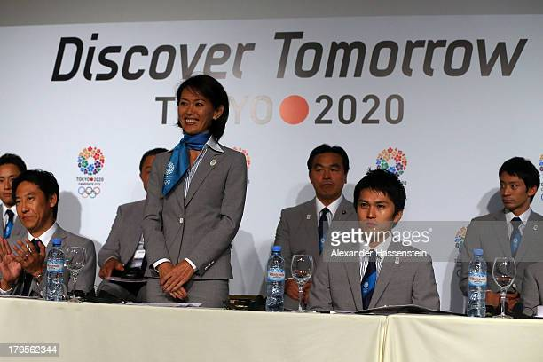 Yuko Arimori welcomes media for a Tokyo 2020 Bid Committee press conference ahead of the 125th IOC Session at Sheraton Buenos Aires Hotel and...