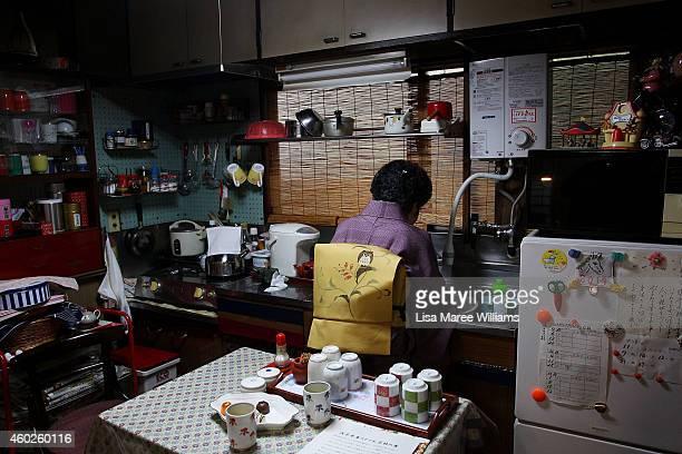 Yuko Asakusa prepares green tea at her home in the Asakusa District on November 6 2014 in Tokyo Japan 91 year old Yuko Asakusa became a Geisha at the...