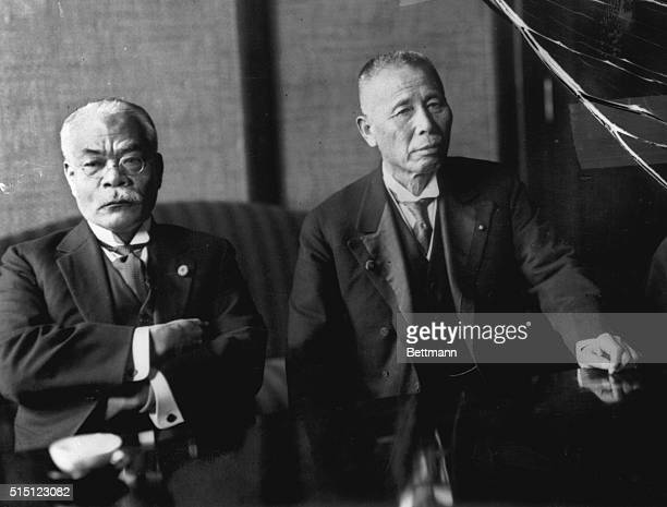 Yuko Hamaguchi leader of the Japanese opposition party Minseito and the Japanese Prime Minister Baron Giichi Tanaka at a conference convened by...