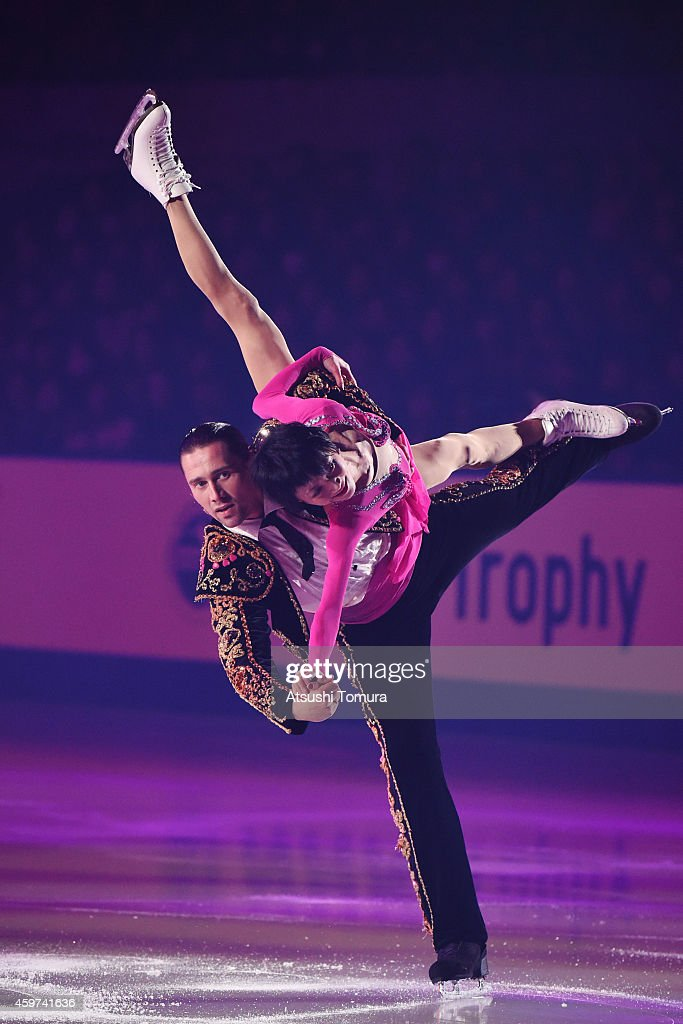 Yuko Kavaguti and Alexander Smirnov of Russia perform their routine in the exhibition during day three of ISU Grand Prix of Figure Skating 2014/2015 NHK Trophy at the Namihaya Dome on November 30, 2014 in Osaka, Japan.