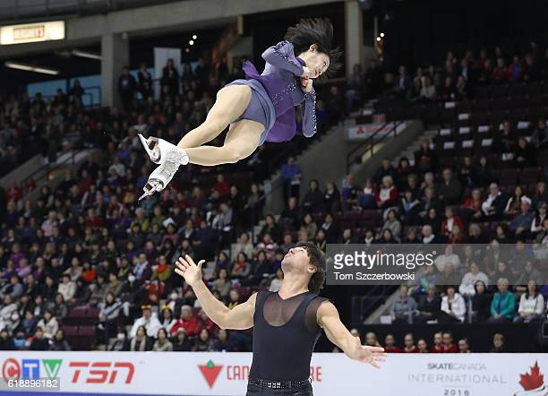 Yuko Kavaguti of Russia and Alexander Smirnov compete in the Pairs Short Program during day one of the 2016 Skate Canada International at Hershey...