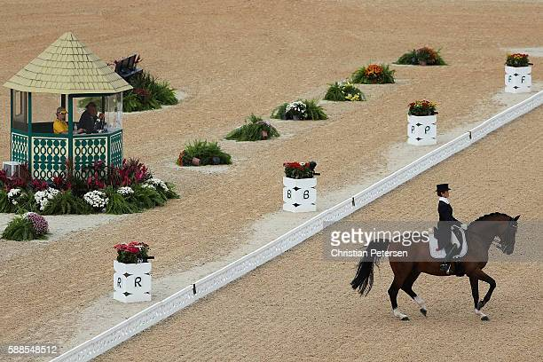 Yuko Kitai of Japan riding Don Lorean competes in the Mens/Womens Team Dressage Grand Prix event on Day 6 of the Rio 2016 Olympic Games at the...