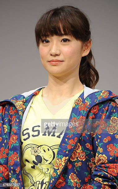 Yuko Oshima of AKB48 attends the Alpen brand ambassador press event at Ebisu Garden Place on March 3 2014 in Tokyo Japan