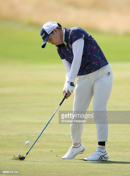 Yuko Saito of Japan plays her second shot on the sixth hole during the final round of the US Senior Women's Open at Chicago Golf Club on July 15 2018...
