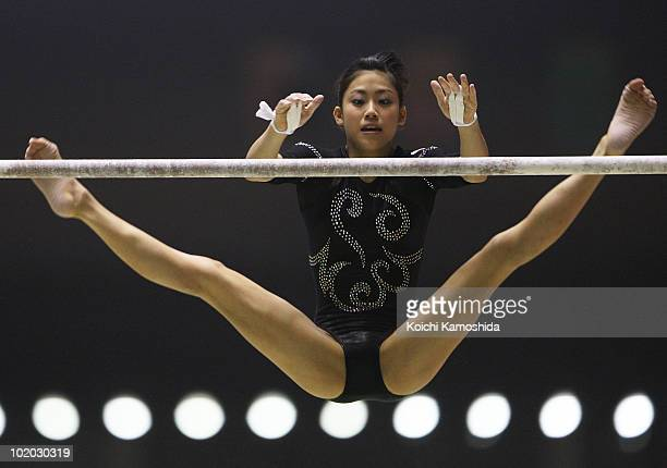 Yuko Shintake of Japan competes in the uneven bars during the Artistic Gymnastics 49th NHK Cup at Yoyogi National Stadium on June 13 2010 in Tokyo...