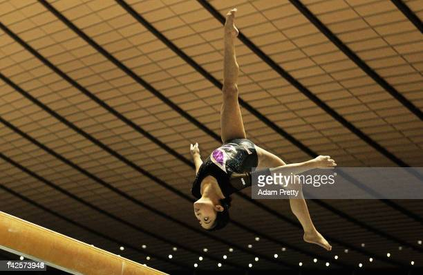 Yuko Shintake of Japan competes on the Balance Beam during day two of the 66th All Japan Artistic Gymnastics All Around Championships at Yoyogi...