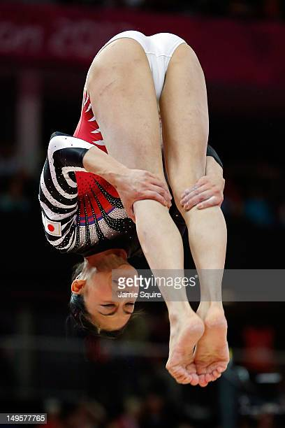 Yuko Shintake of Japan competes on the balance beam in the Artistic Gymnastics Women's Team final on Day 4 of the London 2012 Olympic Games at North...