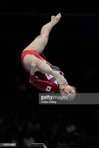 Yuko Shintake of Japan competes on the balance beam in the Women's Team Final during day five of the Artistic Gymnastics World Championships Tokyo...