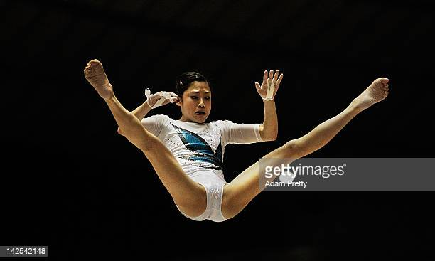 Yuko Shintake of Japan competes on the Uneven Bars during day one of the 66th All Japan Artistic Gymnastics All Around Championships at Yoyogi...