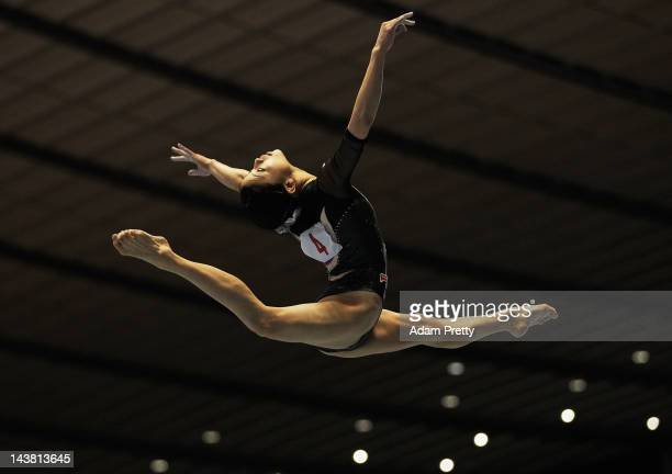 Yuko Shintake of Japan performs her balance beam routine during day one of the 51st Artistic Gymnastics NHK Trophy at Yoyogi National Gymnasium on...