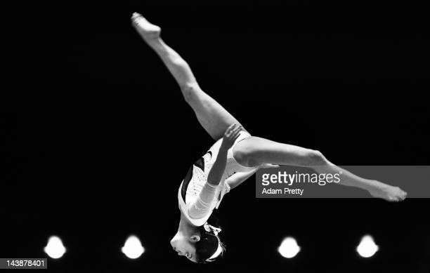 Yuko Shintake of Japan performs her balance beam routine during day two of the Artistic Gymnastics NHK Trophy at Yoyogi National Gymnasium on May 5...