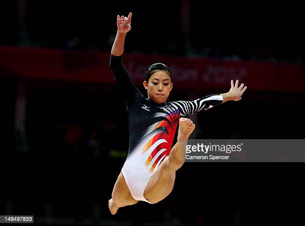 Yuko Shintake of Japan performs on the beam in the Artistic Gymnastics Women's qualification on Day 2 of the London 2012 Olympic Games at North...