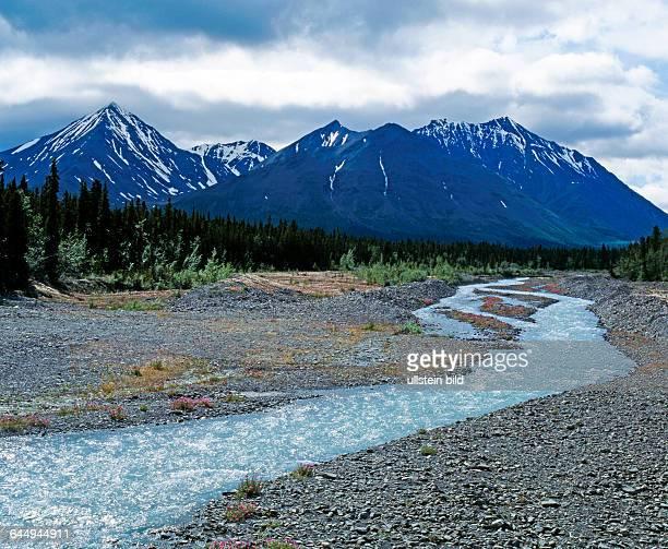 Yukon, Alaska Highway, Naturlandschaft, zauberhaft, nordische Waldtundra, Nadelwald, subarktisch, Hemlockstannen, Murray Kiefern, Gletscherbach,...