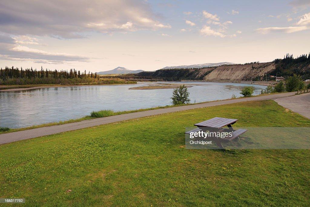Yukon River under Midnight Sun : Stock Photo