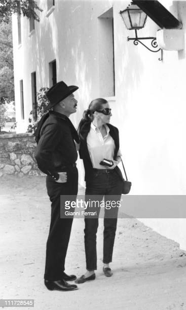 Yul Brynner and his wife Doris Kleiner on the farm 'La Paz' of the bullfighter Luis Miguel Dominguin Cuenca Spain