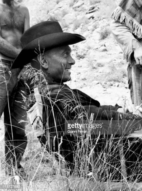 Yul Brynner during the filming of the western 'Indio Black' near Almeria Almeria Spain