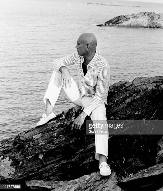 Yul Brynner on the Catalan coast during a break from filming of the movie 'The Light of the Edge of the World' Cadaques Spain