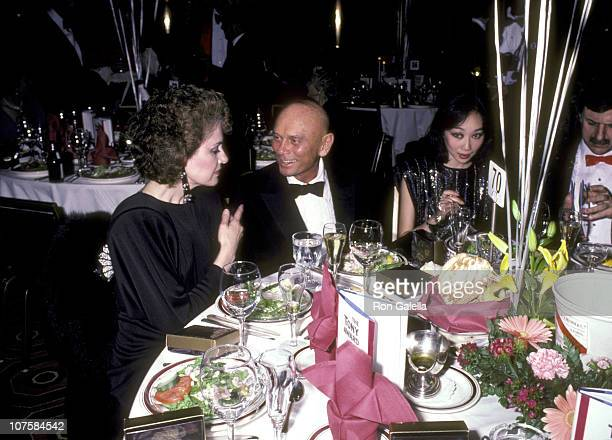 Yul Brynner, wife Kathy Lee and guest during 39th Annual Tony Awards at Schubert Theater in New York City, New York, United States.