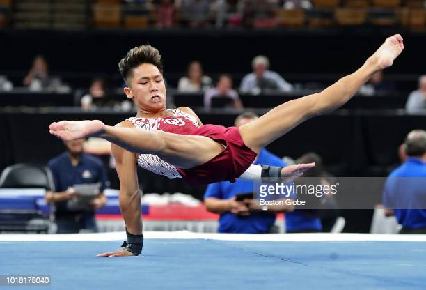 Yul Moldauer competes in the floor exercise during the US senior men's competition at the US Gymnastics Championships at TD Garden in Boston on Aug...