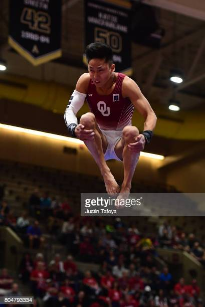 Yul Moldauer of the University of Oklahoma competes in the Floor Exercise event during the Division I Men's Gymnastics Championship held at the...