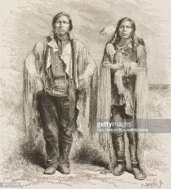 Yule and Quincy Ute chiefs United States of America drawing by Janet Lange from a photograph from The American prairies The Rocky Mountain Mines and...