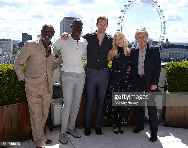 Yule Masiteng Djimon Hounsou Alexander Skarsgard Margot Robbie and Christoph Waltz attend the photocall for 'The Legend Of Tarzan' at Corinthia...