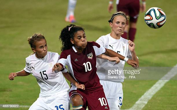 Yuleisi Rivero of Venezuela competes for the ball during the FIFA Girls Summer Olympic Football Tournament Preliminary Round Group A match between...