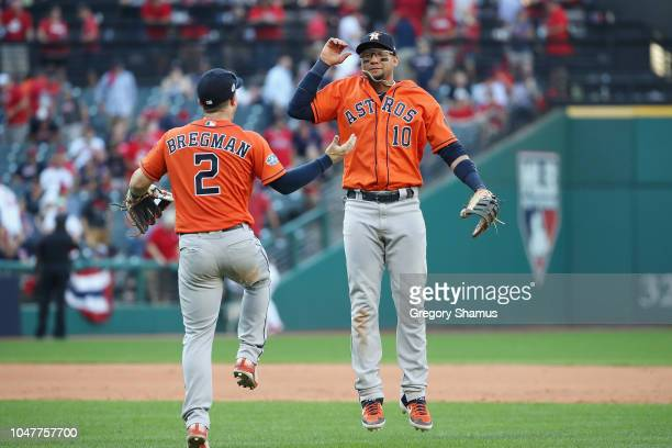 Yuli Gurriel and Alex Bregman of the Houston Astros celebrate defeating the Cleveland Indians 113 in Game Three of the American League Division...