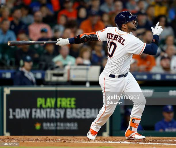 Yuli Gurriel of the Houston Astros at bat against the Texas Rangers at Minute Maid Park on April 14 2018 in Houston Texas