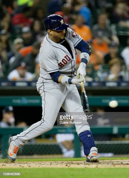 Yuli Gurriel of the Houston Astros bats against the Detroit Tigers at Comerica Park on September 11 2018 in Detroit Michigan