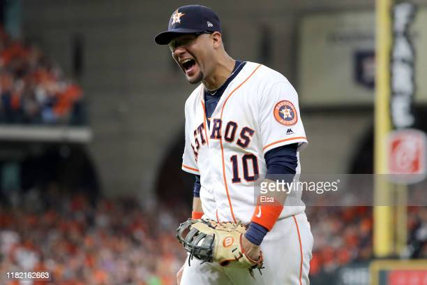 Yuli Gurriel of the Houston Astros celebrates after an inning ending double play against the New York Yankees during the seventh inning in game six...