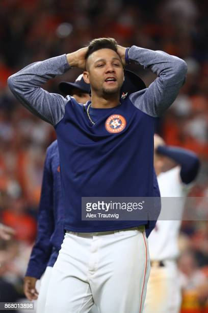 Yuli Gurriel of the Houston Astros celebrates after the Astros defeated the Los Angeles Dodgers Game 5 of the 2017 World Series at Minute Maid Park...