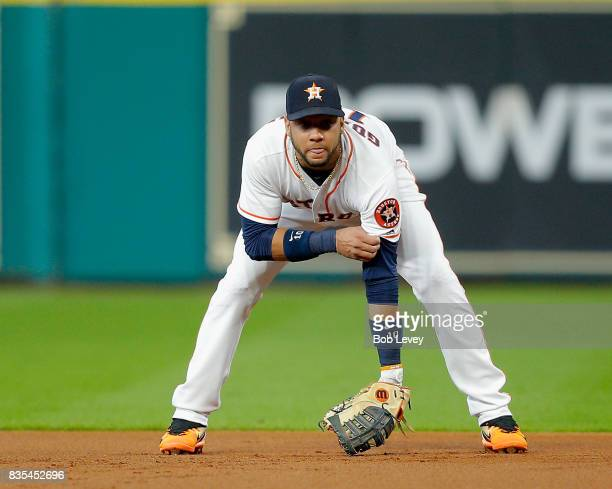 Yuli Gurriel of the Houston Astros during first inning against the Arizona Diamondbacks at Minute Maid Park on August 17 2017 in Houston Texas