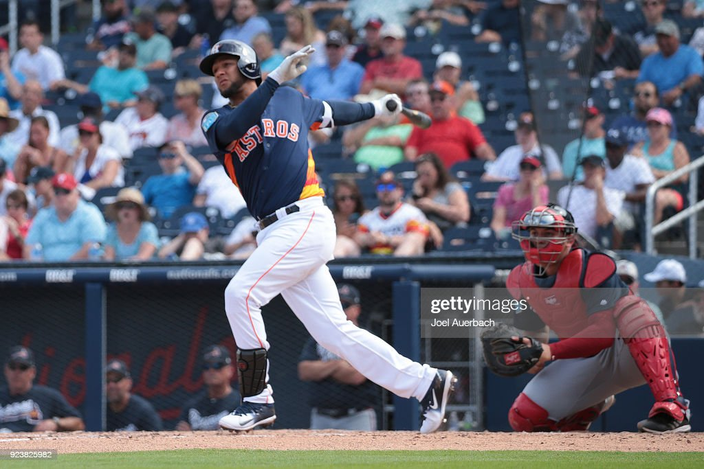 Yuli Gurriel #10 of the Houston Astros hits a solo home run against the Atlanta Braves during th fourth inning of a spring training game at The Ballpark of the Palm Beaches on February 24, 2018 in West Palm Beach, Florida.