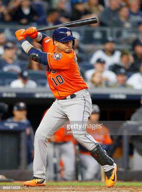 Yuli Gurriel of the Houston Astros in action against the New York Yankees in Game Four of the American League Championship Series at Yankee Stadium...