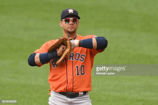 Yuli Gurriel of the Houston Astros looks on during a baseball game against the Baltimore Orioles at Oriole Park at Camden Yards on July 23 2017 in...