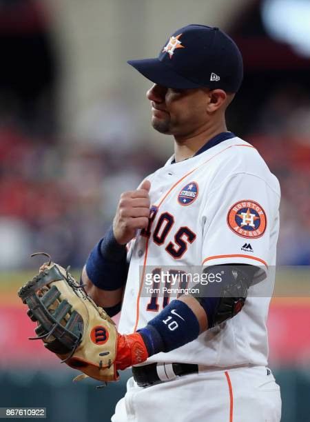 Yuli Gurriel of the Houston Astros looks on during the first inning against the Los Angeles Dodgers in game four of the 2017 World Series at Minute...