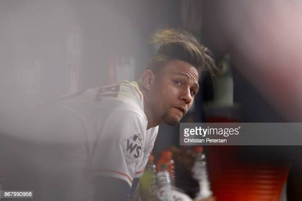 Yuli Gurriel of the Houston Astros looks on from the dugout after a threerun home run during the fourth inning against the Los Angeles Dodgers in...
