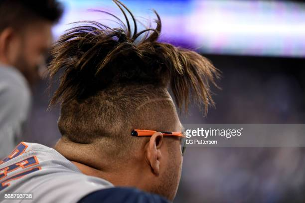 Yuli Gurriel of the Houston Astros looks on from the dugout during Game 6 of the 2017 World Series against the Los Angeles Dodgers at Dodger Stadium...