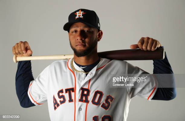 Yuli Gurriel of the Houston Astros poses for a portrait at The Ballpark of the Palm Beaches on February 21 2018 in West Palm Beach Florida