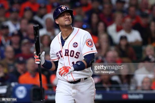 Yuli Gurriel of the Houston Astros reacts after striking out during the fifth inning against the Los Angeles Dodgers in game four of the 2017 World...
