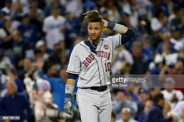 Yuli Gurriel of the Houston Astros reacts during the sixth inning against the Los Angeles Dodgers in game six of the 2017 World Series at Dodger...