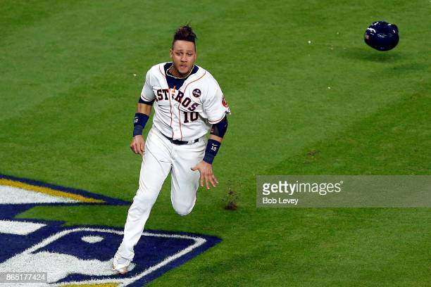Yuli Gurriel of the Houston Astros rounds third on his way to scoring a run in the fifth inning against the New York Yankees in Game Seven of the...