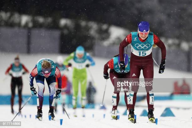Yulia Belorukova of Olympic Athlete from Russia beats Jessica Diggins of the United States and Natalia Nepryaeva of Olympic Athlete from Russia...