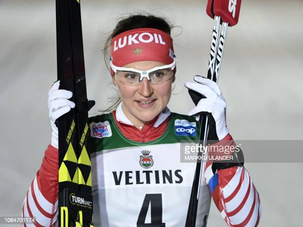 Yulia Belorukova of Russia celebrates after winning the women's Cross Country Skiing Sprint event at the FIS Nordic Skiing World Cup in Ruka Finland...