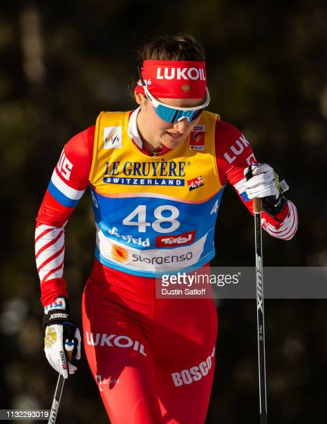 Yulia Belorukova of Russia competes in the Women's 10km Cross Country during the FIS Nordic World Ski Championships on February 26 2019 in Seefeld...